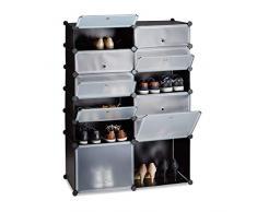 Relaxdays Zapatero Modular con 12 Compartimentos, Plástico, Negro, 125 x 94 x 37 cm