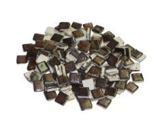 mosaix 10 x 10 x 3 mm 70 g 150-piece cerámica vidriada Azulejos de mosaico, color negro y dorado