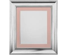 Frames by Post Marco de Fotos Vintage Scandi, Silver with Pink Mount, 12 x 10 Image Size 10 x 8 Inch