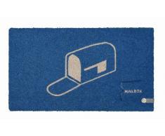 Young Generation YH 101372 Shoe Max - Felpudo (fibra de coco, base de PVC antideslizante, 74 x 44 cm), diseño de buzón, color azul