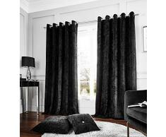 Catherine Lansfield Cortinas con Ojales, poliéster, Negro, Eyelet Curtains - 66x54 In