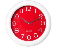 H&H Reloj de Pared, Plástico, Blanco/Rojo