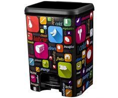 Cubo de Basura con Pedal de plástico de Gran Clase Decorado IML Multicolour Cocina, Negro, 12Unidades
