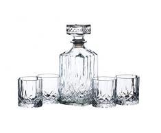 Kitchencraft Barcraft – Cubitera de vidrio tallado decantador de Whisky y Set de regalo de vaso, claro, juego de 5