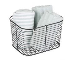 iDesign Vienna almacenaje, gran organizador metal, cesto de baño para guardar cosméticos o toallas, negro mate, 18.8 Cm X 23.9 Cm X 14.5 Cm