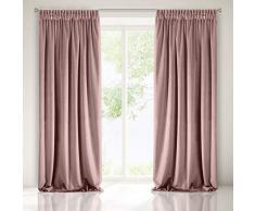 Eurofirany Velvet Terciopelo con Cinta fruncidora, Color Rosa Oscuro Elegante Cortina Lisa para salón o Dormitorio, poliéster, 140 x 270 cm