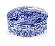 Habitación azul 13 cm joyero de porcelana grande, azul/blanco