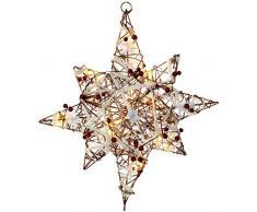 WeRChristmas - Adorno 48 cm, ratán, árbol de Navidad iluminado con nieve y bayas, multicolor