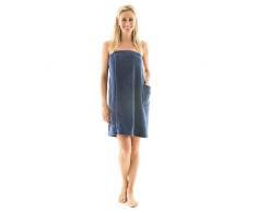 Para mujer Celinatex para sauna forro polar, con cierre de velcro, una bolsa, más fácil de falda escocesa, Málaga, confortable, suave, muy cómodo de usar y cómodo de llevar de toalla, poliéster, azul, large/extra-large