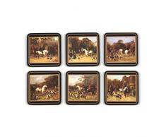 Pimpernel 10,5x 10,5cm, madera DM, base de corcho Tally Ho-Juego de posavasos (6unidades), Set de 6