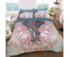 Sleepdown Elephant Mandala Pink/Blue Juego de Funda de edredón tamaño King, algodón, Rosa y Azul, Matrimonio