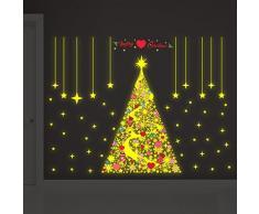 Wallflexi Navidad Brilla en la Oscuridad Magic Copos de Nieve árbol de Navidad Decoraciones/Pared Pegatinas, P, Vinilo, 90 x 60 x 0.02 cm