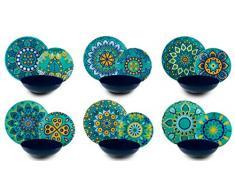 Excelsa Mandala Mediterraneo Vajilla de 18 piezas, Porcelana, multicolor