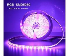 quntis® Agua Densidad LED Cinta 5 M RGB 5050 SMD Tiras de alta densidad de 300 ledes, luz cadena cinta tira + Mando a distancia con infrarrojos de 44 teclas + Fuente (12 V 5 A) con conector de la UE, IP 65 [Clase energética A + + +]