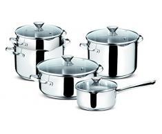 Lagostina Smart - Juego de cacerolas de cocina, acero inoxidable, 9 piezas