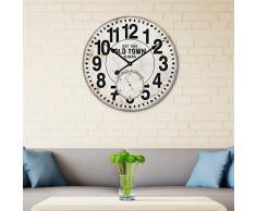 Walplus BJ-V3II-8DQM - Reloj de pared, MDF, color negro y blanco