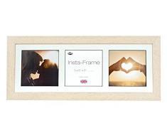 Inov8 21 x 20,32 cm Insta-Frame Marco para Instagram 3/de estampado a cuadros de fotos con paspartú blanco y blanco con borde, crema 306