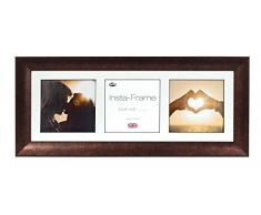 Inov8 21 x 20,32 cm Insta-Frame Marco para Instagram 3/de estampado a cuadros de fotos con paspartú blanco y blanco con borde, Bronce