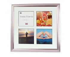 Inov8 16 x 40,64 cm Insta-Frame Marco para Instagram 4/de estampado a cuadros de fotos con paspartú blanco y negro con borde, 2 unidades, Ripple plateado