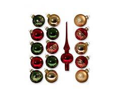 Saico ST-16-3012 - Set de bolas decorativas para árbol de Navidad (cristal de Turingia, 16 piezas, diámetro: 6 cm), color rojo, verde y dorado