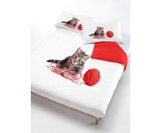 Italian Bed Linen Italiano Edredón Ropa DE Cama Establece el Gato Rojo/Blanco en un Medio Cuadrado de 200 x 200 cm