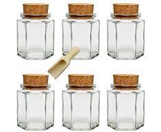 Viva Haushaltswaren - 6 tarros, botes de conserva, cristal con tapón de corcho aproximadamente 175 ml incluye 1 pala de madera!