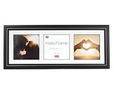 Inov8 21 x 20,32 cm Insta-Frame Marco para Instagram 3/de estampado a cuadros de fotos con paspartú blanco y blanco con borde, negro 53