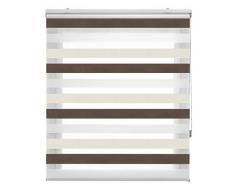 Blindecor Lira Estor Enrollable Doble Tejido, Noche y día,Tricolor 120 x 180 cm, Color Marron Crema, Poliéster