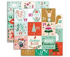 Youdoit Pegatinas Números para Calendario de Adviento – Navidad en el Bosque