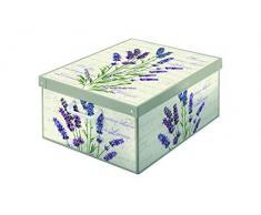 Kanguru Caja de Almacenamiento en cartòn Lavatelli, Lavanda con Tapa perfumada, facil Montaje, Resistente, 32x42x17,5cm, Media