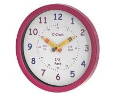 Unity - Reloj de pared para niños Henley Aprende las horas, 25 cm, color rosa