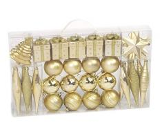 Brauns Heitmann 71982 - Juego de adornos de Navidad, diseño con purpurina, brillante y mate, color dorado