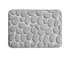 InterDesign Basic Tapete de baño, alfombra antideslizante pequeña de plástico para la bañera y la ducha, gris