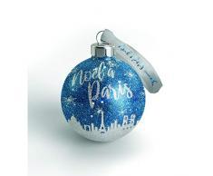 Navidad en París - Lote de 10 Bolas de Navidad París Azul/Plata, 7,5 cm