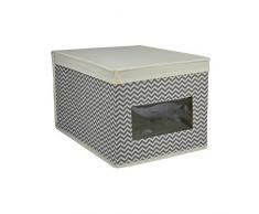 Rebecca mobili Organizador Beige Gris Resistente Durable Cesta de almacenaje para Armario Dormitorio Baño (Cod. RE4737)