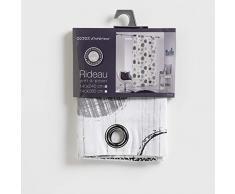 COTON DINTERIEUR Algodón de Interior Romy Cortina con Ojales, algodón, Gris, 140 x 240 cm