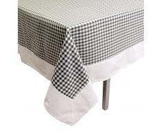 Soleil docre Mantel Cuadrado de algodón 180x180 cm Vichy Gris, Jacquard