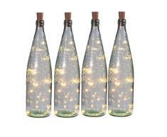 Set 4 Tapones Botella 20 Leds Pilas Incluidas Con Guirnalda Led 2mts Blanco Cálido 3000K