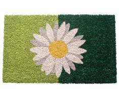 Entryways - Felpudo (40 x 60 cm, fibra de coco y revestimiento de PVC), diseño de margarita, color verde