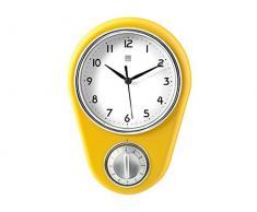 H&H Vaniglia Reloj de Pared, Plástico, Amarillo/Blanco