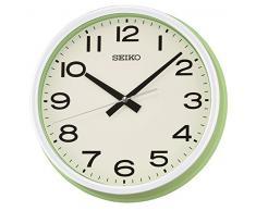 Seiko barrido de segunda mano reloj de pared con esfera árabe, de madera, verde