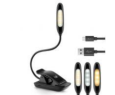 LE Lámpara Flexo Led de pinza Recargable, 9 Modos, 3 Niveles de brillo, 3 Tonos Frío Neutro Cálido, Cable USB incluido