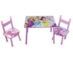 Fun House 712584 Disney Princesses – Juego de mesa con dos sillas para niños MDF color rosa 60 x 40 x 44 cm