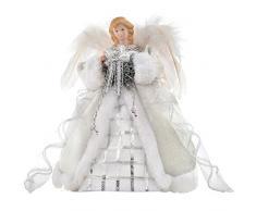 WeRChristmas - Figura para árbol de Navidad (30 cm, diseño de ángel, alas de plumas), color plateado y blanco
