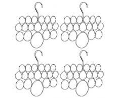 InterDesign Axis Organizador de pañuelos con 18 anillos, perchero de metal para pañuelos, corbatas, etc., juego de 4 colgadores de ropa, plateado