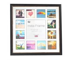 Inov8 16 x 40,64 cm tamaño pequeño Insta-Frame Marco para Instagram 13/de estampado a cuadros de fotos con paspartú blanco y negro con borde, 2 unidades, se debe lavar a negro