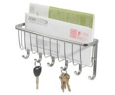 iDesign Cuelga llaves con estante, pequeño llavero de pared de metal con 6 ganchos para llaves, repisa portacartas para notas y correo, plateado