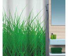 Spirella 180 x 200, Gris colección Grass, Cortina de Ducha Textil, 100% Polyester