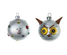 Alessi Fioccodineve Uffoguffo - Bolas de Navidad (decoradas a mano, vidrio soplado), diseño de cara sonriente y animalillo, multicolor