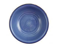 Villa dEste Baita Juego de 6 Platos Hondos de Gres Esmaltado Pintado a Mano, en Azul